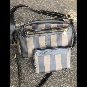 Vintage FENDI pequin stripe purse and makeup pouch